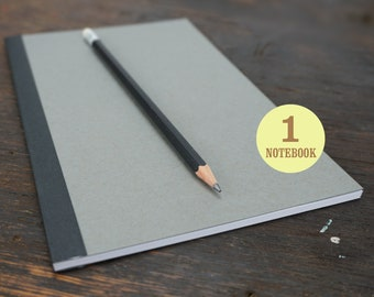 Gray Perfect Bound Notebook, 5.5 x 8.5 Inch, Journal, Sketchbook, Kraft, Blank Journal, Notebook, Sketchbook, Gray Notebook.