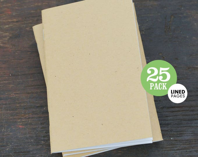 Lined Kraft Notebook, 3.5 x 5.5, Pocket-Sized, Lined Page Notebook. Use for Planner, Goals, Notes, and To-Do List. Set of 25 Lined Notebooks