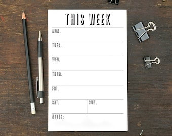 This Week Notepad, To Do List, Memo Pad, Weekly Organizer, 5.5 x 8.5 Inches, To Do Notepad, Planner, Schedule, Work, Notepad, Week, Menu