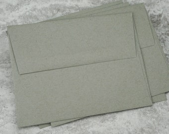 A2 Kraft Gray Envelopes, Recycled Paper, Blank Envelopes, Greeting Card Envelope, Made in USA, Recycled, 4 3/8 x 5 3/4 inches