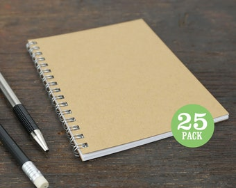Wire Bound Notebooks, 4.25 x 5.5 Inch, Journals, Sketchbooks, Notes, Kraft, Blank, Notebook, Sketchbook, Bulk, Kraft Notebooks, Set of 25