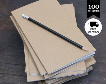 Bulk Kraft Notebooks, 5 x 8 Inch, Kraft Cover, Blank Page Notebooks. Set of 100. Great as Notebook, Sketchbook, or Unlined Journals.