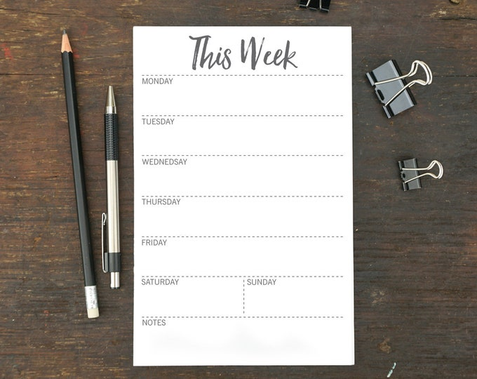 This Week Notepad, To Do List, Memo Pad, Weekly Organizer, 5.5 x 8.5 Inches, To Do Notepad, Menu Planner, Schedule, Work, Notepad, Week