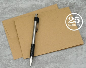 Kraft Brown Blank Notecards with Envelope, Size A2, Cards and Envelopes, Recycled, Blank Envelopes, Blank Cards. 4.25 x 5.5 In. Set of 25.
