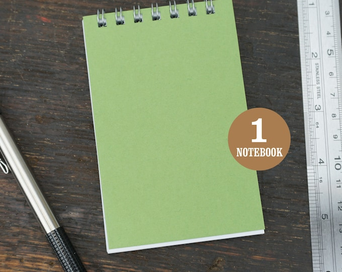 Green Mini Wire Bound Notebook, 2.75 x 4.25 Inch, Green, Notes, Blank Notebook, Mini Sketchbook, To Do List, Mini Notebook, Small Notes