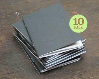 Black Kraft Notebooks, 3.5 x 5.5 Inch, Blank Page Notebook. Great for Notes, To Do Lists, as Sketchbook or Small Journal. Set of 10.