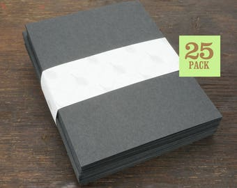 Blank Notecards with Envelope, Size A2, Black Cards and Envelopes, Recycled Paper, Blank Envelopes, Blank Cards. 4.25 x 5.5 In. Set of 25.