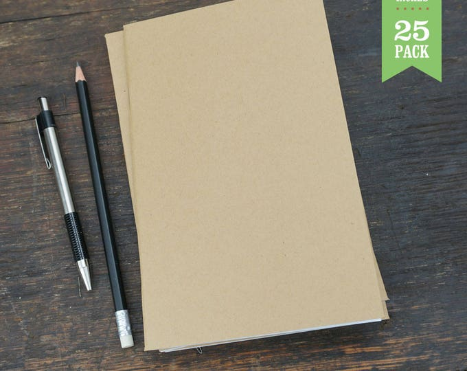 Bulk Kraft Notebooks, 5x8, Kraft Cover, Blank Notebook, Sketchbook, Blank Journals. Great for Notes, Journaling, or Sketching. Set of 25.