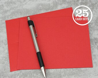 Red Blank Notecards with Envelope, Size A2, Red Cards and Envelopes, Blank Envelopes, Blank Cards. 4.25 x 5.5 In. Set of 25.