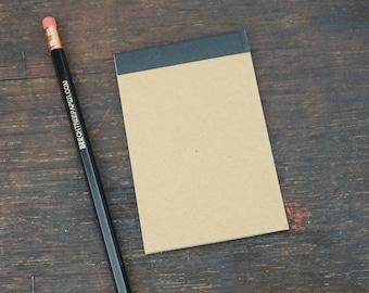 Perfect Bound Mini Reporter Style Kraft Notebook, 2.75 x 4.25 Inch, Notes, Sketch, To Do Lists, Blank Pages, Travel Notes, Single Notebook