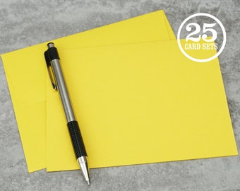 Blank Yellow Notecards with Envelope, Size A2, Cards and Envelopes, Blank Envelopes, Blank Cards. 4.25 x 5.5 In. Set of 25.