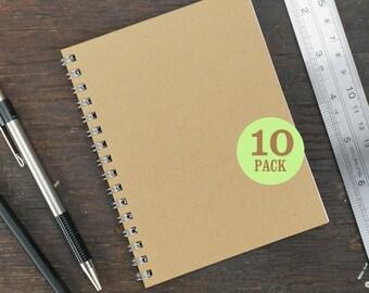 Wire Bound Notebooks, 4.25 x 5.5 Inch, Journals, Sketchbooks, Notes, Kraft, Blank, Notebook, Sketchbook, Bulk, Kraft Notebooks, Set of 10