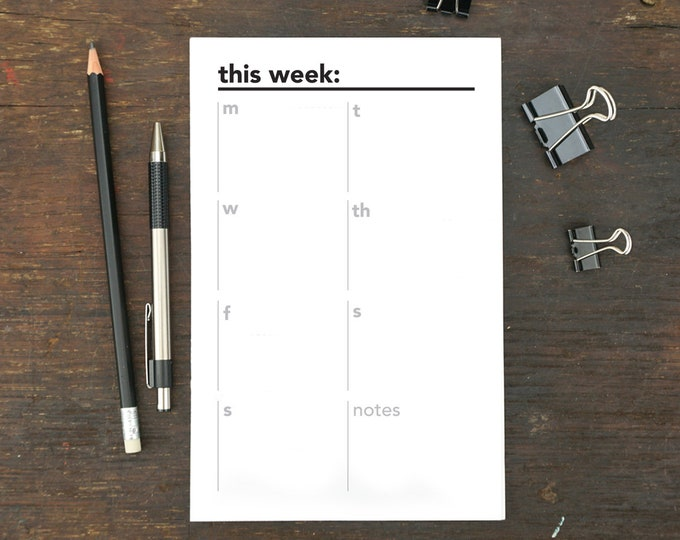This Week Notepad, To Do List, Memo Pad, Weekly Organizer, 5.5 x 8.5 Inches, To Do Notepad, Menu, Planner, Schedule, Work, Notepad, Week