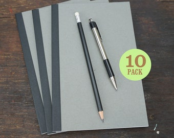 Gray Perfect Bound Notebooks, 5.5 x 8.5 Inch, Journals, Sketchbooks, Paper, Notes, Blank Journals, Sketchbook, Gray Notebook. Set of 10.