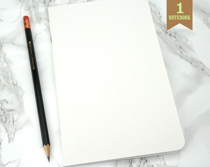 White Notebook, 5 x 8 Inches, Rounded Corners, Bulk Blank Notebooks, Small Sketchbook, Blank Pages, Notebook. One Notebook.