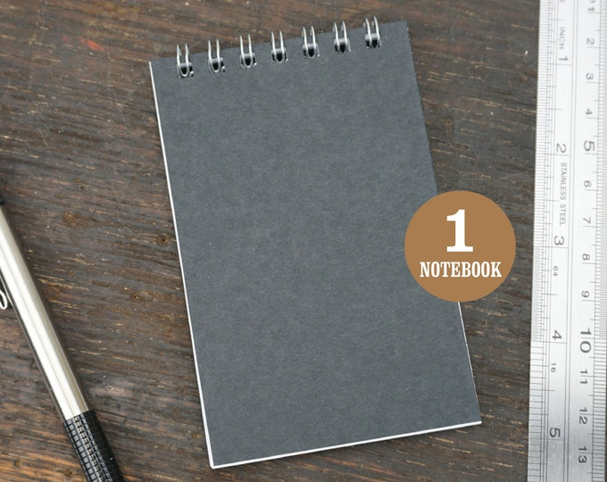 Mini Wire Bound Black Notebook, 2.75 x 4.25 Inch, Black, Notes, Blank Notebook, Mini Sketchbook, To Do List, Mini Notebook, Small Notes