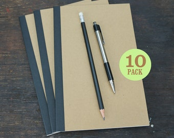 Perfect Bound Kraft Notebooks, 5.5 x 8.5 Inch, Journals, Sketchbooks, Notes, Kraft, Blank, Lined or Grid Pages Journal, Sketch. Set of 10.
