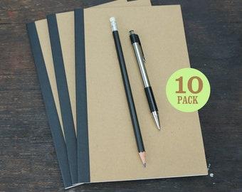 Perfect Bound Kraft Notebooks, 5.5 x 8.5 Inch, Journals, Sketchbooks, Notes, Kraft, Blank Pages, Journal, Sketch. Set of 10.