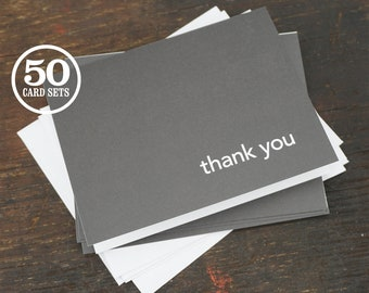 Thank You Note Cards with Envelopes, A2 Size, 4.25 x 5.5 Inch, Blank Interior, Set of 50. Thank You Card Set, Wedding, Thanks, Graduations