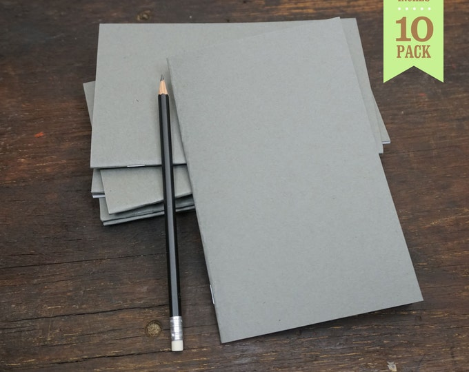 Bulk Blank Notebooks, Blank Journal, Sketchbook, or Notebook, Gray, 5x8, Sketchbook, Bulk Journal, Blank Notebook, Kraft Notebook. 10 Pack