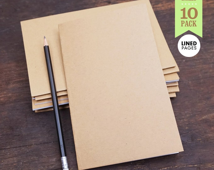 Kraft Lined Notebooks, 5 x 8 Inch, Lined Journal. Great for Planning, Goals, Journaling, Notes, and To-Do Lists. Bulk Notebooks–Set of 10