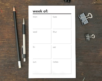 Week Of Notepad, To Do List, Memo Pad, Weekly Organizer, 5.5 x 8.5 Inches, To Do Notepad, Menu, Planner, Schedule, Work, Notepad, Week,