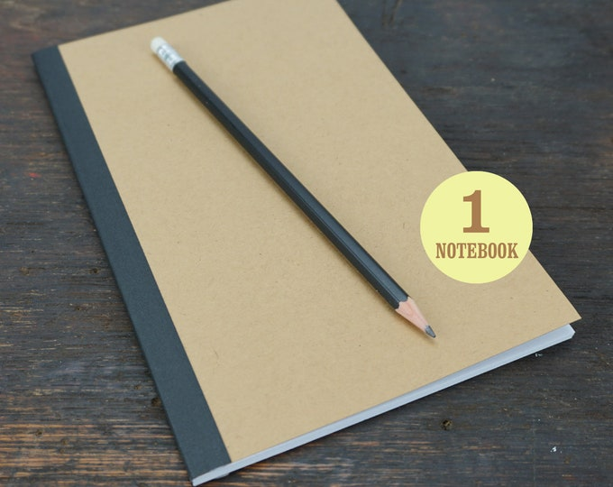 Perfect Bound Kraft Notebook, 5.5 x 8.5 Inch, Journal, Sketchbook, Notes, Kraft, Blank, Lined or Grid Pages Journal, Notebook, Sketchbook
