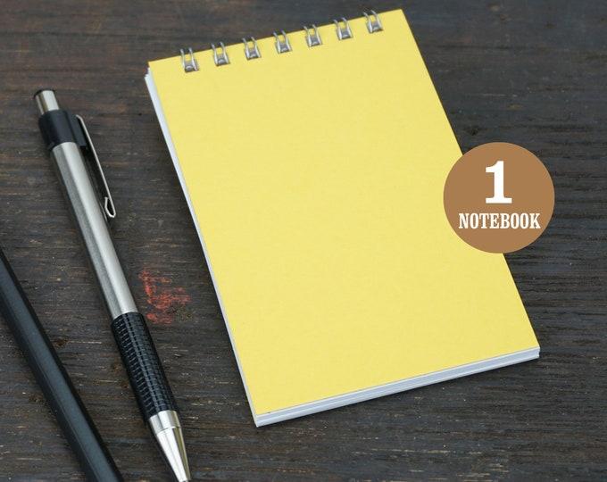 Wire Bound Mini Notebook, 2.75 x 4.25 Inch, Yellow, Notes, Mini Notes, Blank Notebook, Mini Sketchbook, To Do List, Mini Kraft Notebook