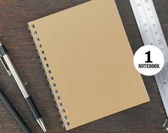 Wire Bound Notebook, 4.25 x 5.5 Inch, Journal, Sketchbook, Notes, Kraft, Blank Journal, Notebook, Sketchbook, Bulk Journal, Kraft Notebook