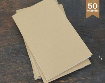 Bulk Blank Notebooks, 5 x 8 Inch, Kraft Cover, Blank Notebooks, Notebook, Sketchbook, Blank Journals, Kraft Notebook. Set of 50.