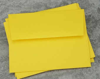 A2 Yellow Envelopes, Recycled Paper, Blank Envelopes, Greeting Card Envelope, Made in USA, Recycled,  4 3/8 x 5 3/4 inches