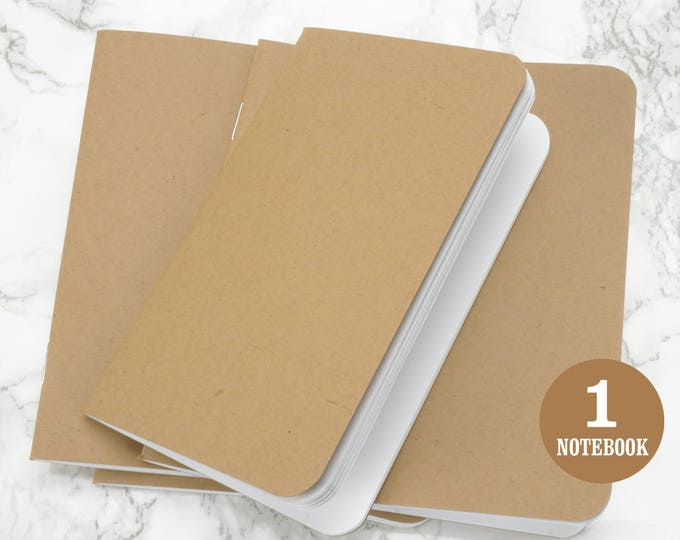 Blank notebook, 3.5 x 5.5 Inches, Rounded Corners, Kraft, Bulk notebooks, Sketchbook, Blank Pages, Pocket sized notebook. Single Notebook.
