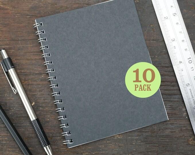 Wire Bound Notebook, 4.25 x 5.5 Inch, Journal, Sketchbook, Notes, Black, Blank Journal, Notebook, Sketchbook, Bulk Journal. Set of 10.
