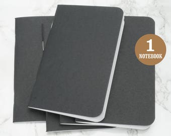 Black Blank Notebook, 3.5 x 5.5 Inches, Rounded Corners, Bulk Notebooks, Small Sketchbook, Blank Pages, Pocket Sized Notebook. One Notebook.