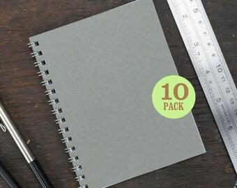 Wire Bound Notebook, 4.25 x 5.5 Inch, Journal, Sketchbook, Notes, Gray, Blank Journal, Notebook, Sketchbook, Bulk Journal. Set of 10.