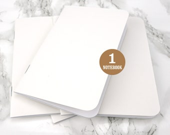 Bulk notebook, 3.5 x 5.5 Inch, Rounded Corners, White, Bulk notebooks, Sketchbook, Blank Pages, Pocket sized notebook. One Notebook.
