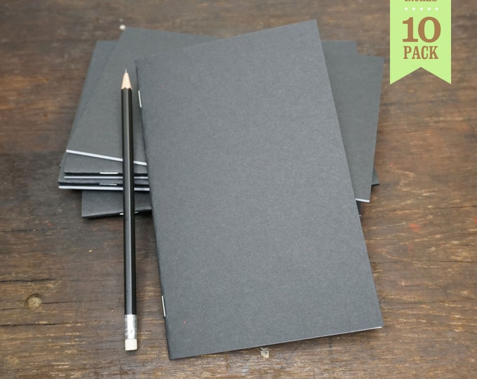 Bulk Notebook, Black, Journal, Blank Sketchbook, 5x8, Bulk Journal, Blank Notebook, Journal, Notes, Recycled. Set of 10.
