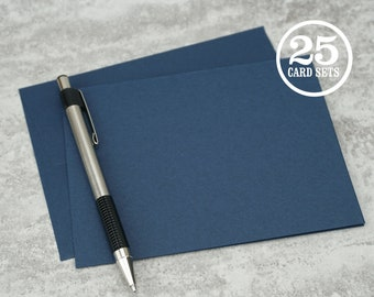 Navy Blue Blank Notecards with Envelope, Size A2, Cards and Envelopes, Blank Envelopes, Blank Cards. 4.25 x 5.5 In. Set of 25.