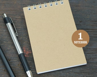 Wire Bound Mini Notebook, 2.75 x 4.25 Inch, Sketchbook, Notes, Kraft Brown, Blank Notebook, Mini Sketchbook, To Do List, Mini Kraft Notebook