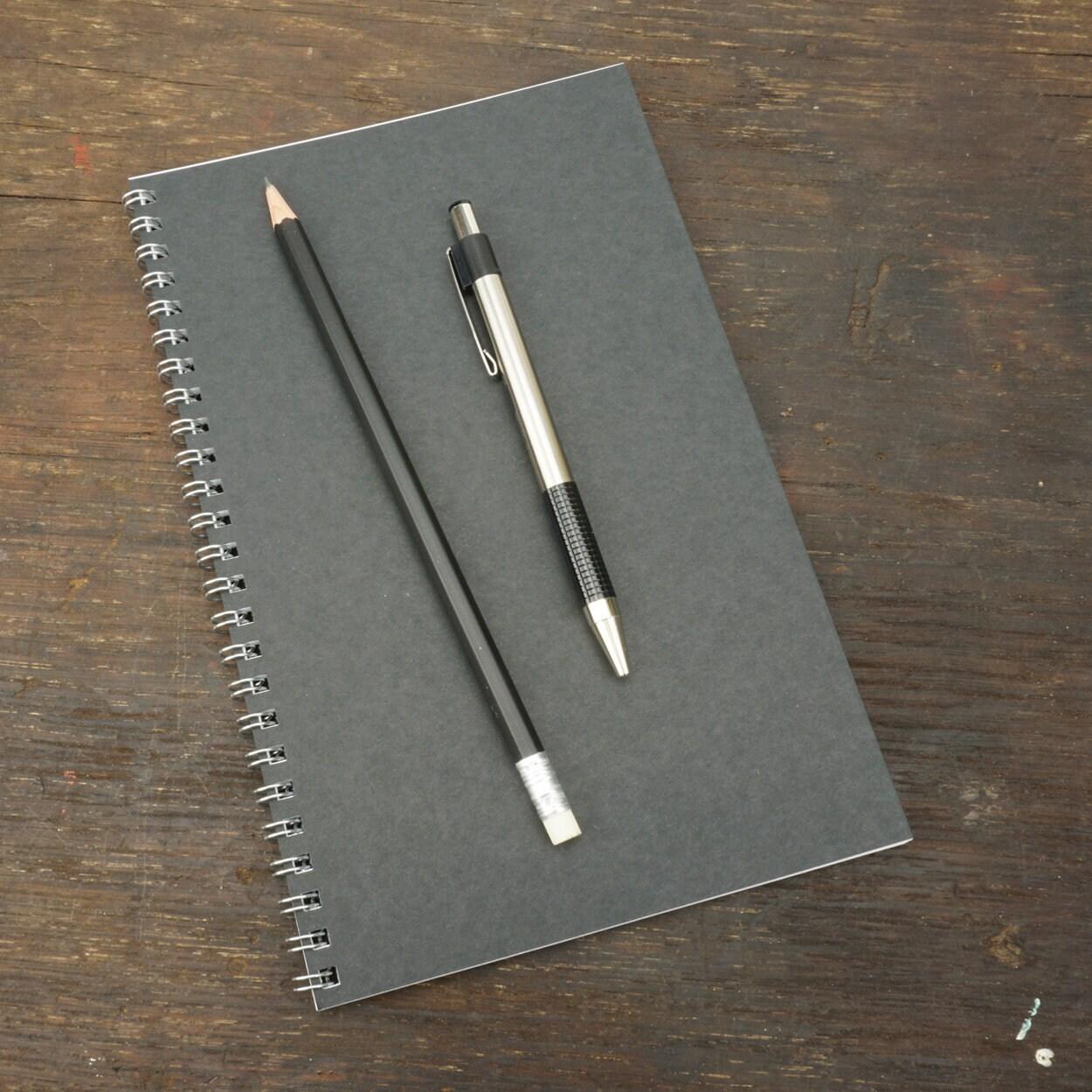 Wire Bound Notebook, 5.5 x 8.5 Inch, Black Journal, Sketchbook ...