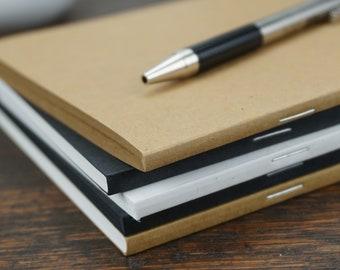 """Perfect-Stapled Style / 5"""" x 8"""" /  100-Series Notebook / Choose 100% Recycled or FSC Paper / Eco-Friendly / Paper Made by Renewable Energy"""
