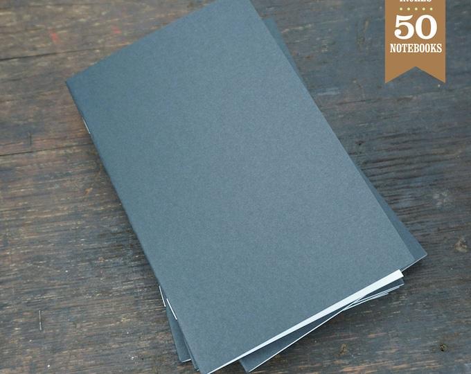 Bulk Notebook, Black, 5x8, Journal, Blank Sketchbook, Bulk Journal, Blank Notebook, Journal, Notes, Recycled. Set of 50.