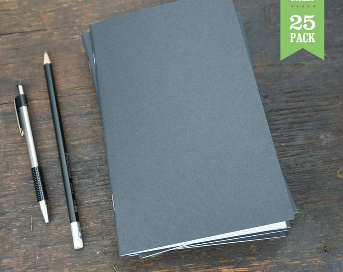 Bulk Notebooks, 5 x 8, Black, Blank Notebook, Sketchbooks, Journals. Great for Notes, Sketching, and Journaling. Bulk Notebooks. Set of 25.
