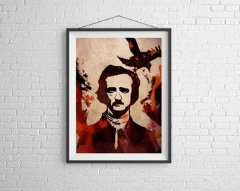 Edgar Allan Poe,Poe,Writer,Raven,Poem,Horror,nerd, 11x14, Print, Artwork, Painting,Decor,Surreal,Art,geek