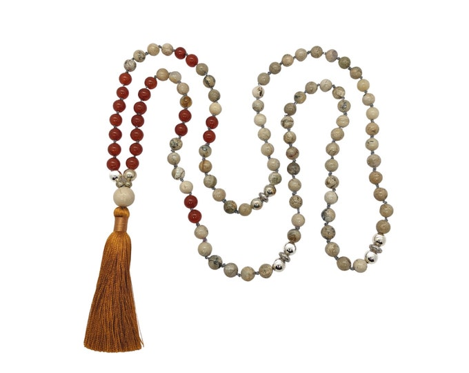 unisex tassel necklace meditation necklace Protection mala necklace African opal gemstone beads 108 mala beads mindfulness gift