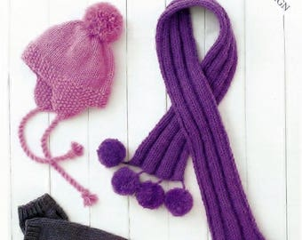 c41a04dba9d Childrens Scarves and Hat Aran Knitting Pattern easy knit