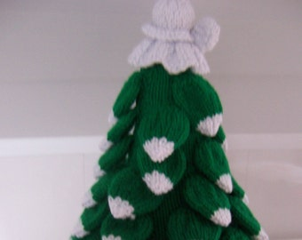 Christmas Tree with Angel  Hand Knitted Decoration , handmade christmas decoration, knitted tree with white angel