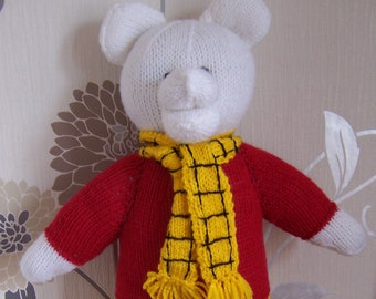 RUPERT BEAR Hand Knitted Toy , Handmade Bear, Knitted soft toy, stuffed toy, teddy bear, handmade toy bear