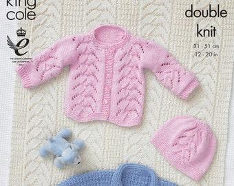 "BABY GIRL LOOPY CARDIGAN HOODY /& HAT  DK KNITTING PATTERN 16-24/"" KING COLE 2985"