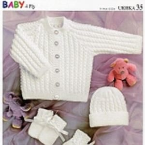 """4ply Baby Jacket Hat Mitts /& Bootees KNITTING PATTERN UKHKA 35 12/""""- 22/"""""""